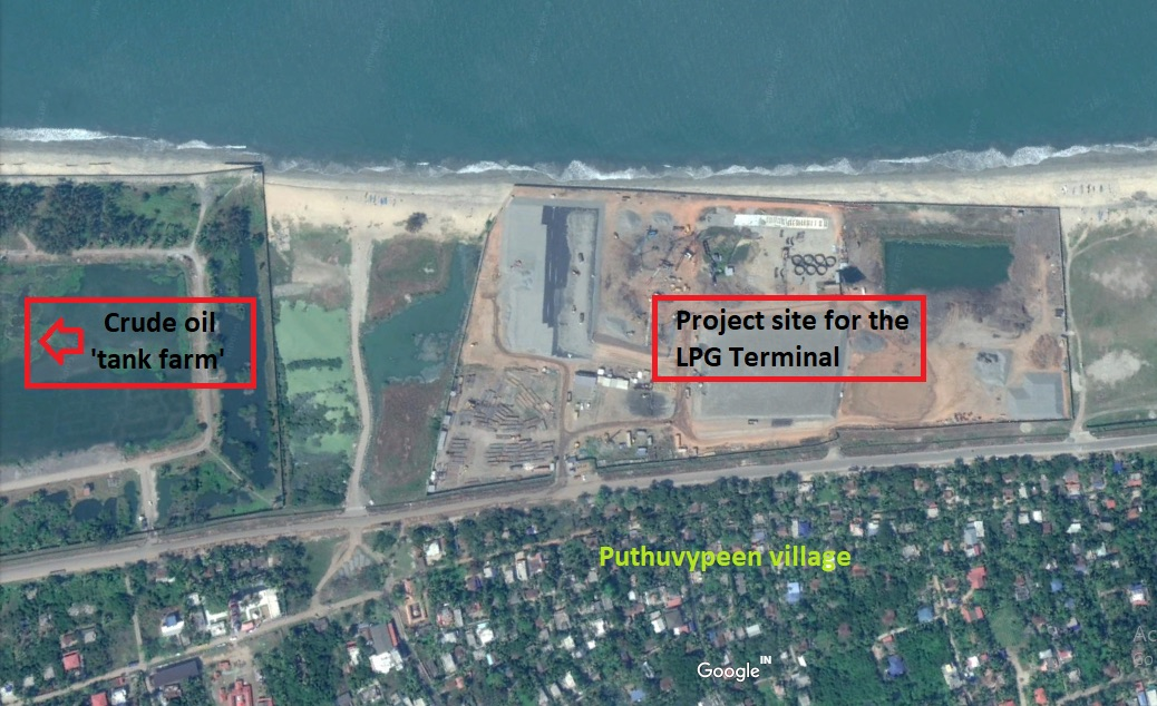 Google map view of the project site, clearly revealing its extreme proximity to both the village and the sea. The old seawall runs alongside the road built for the project.
