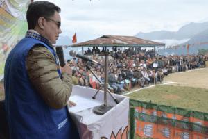 Kiren Rijiju at a BJP rally in Arunachal's Tali. Credit: Twitter/@KirenRijiju