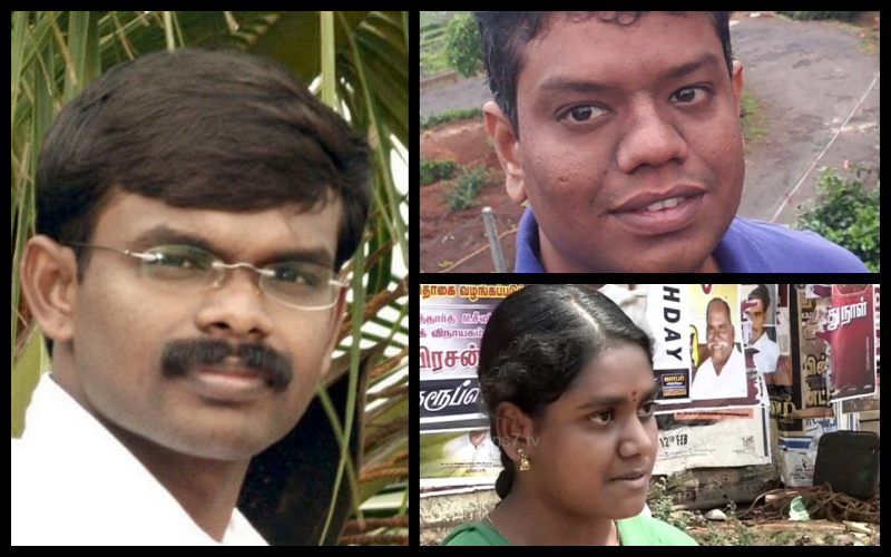 G. Bala, Nakkeeran Pugazhendhi and Nandhini Anandhan, all of whom were arrested recently. Credit: Twitter/Facebook