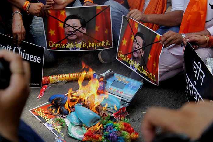 File photo of protestors demanding the boycott of Chinese goods. Credit: PTI