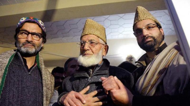 Separatist leaders Syed Ali Shah Geelani, Mirwaiz Umar Farooq and Mohammad Yasin Malik. Credit: PTI