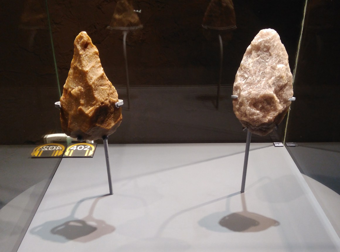 The Indian and the Tanzanian Hand axes on the left and right respectively.