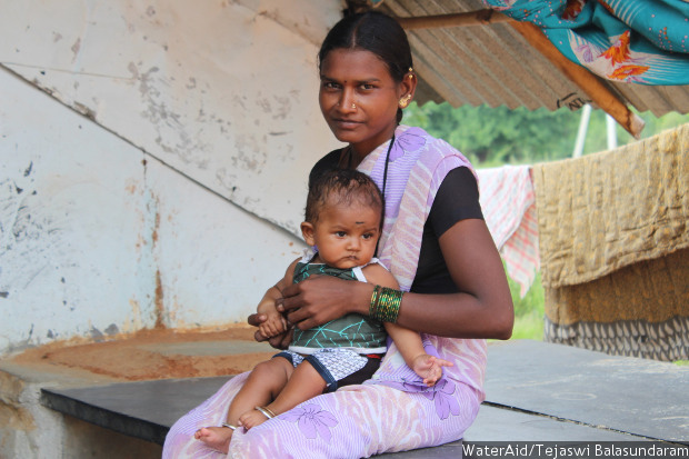 When I got pregnant, it was hard to walk to the field to defecate as the path was not safe. My mother-in-law used to accompany me because I needed help sitting down and getting up.Maheshwari (25), Raichur, India. Credit: WaterAid/Tejaswi Balasundaram
