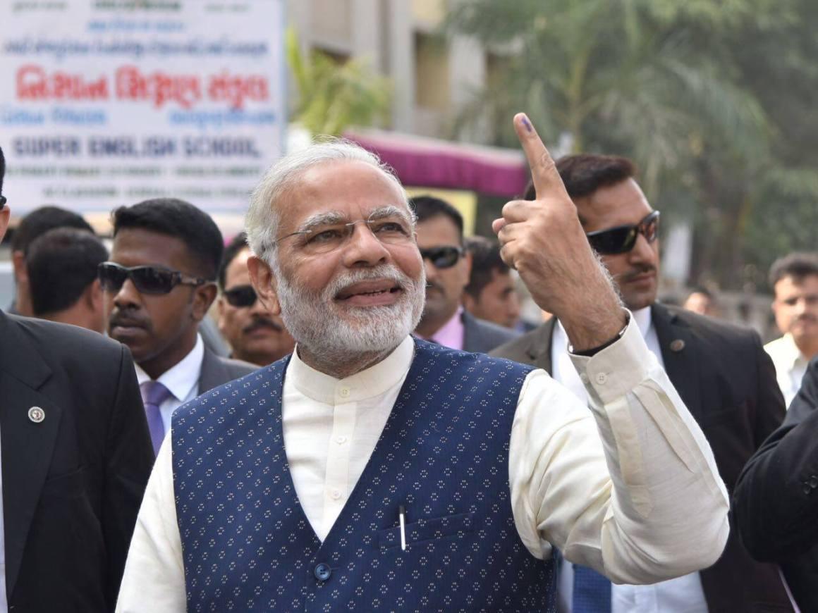 Prime Minister Narendra Modi after voting in Gujarat. Credit: Facebook/BJP