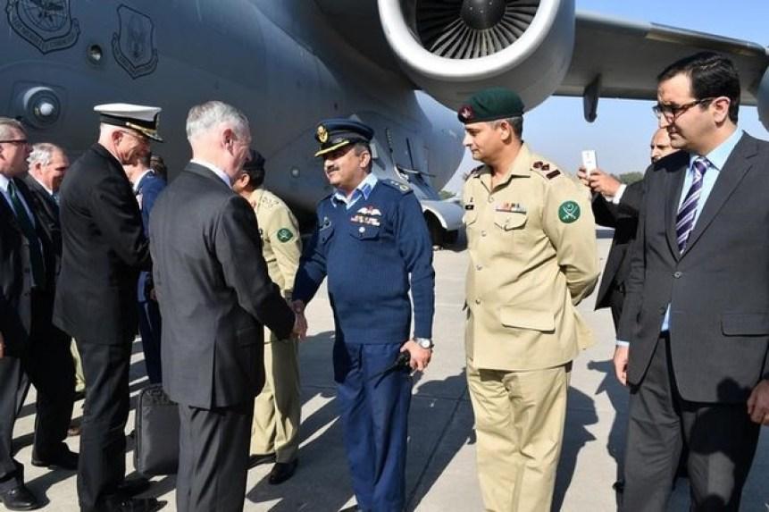 US Defence Secretary Jim Mattis arrives in Islamabad, Pakistan December 4, 2017. US Embassy Handout via Reuters