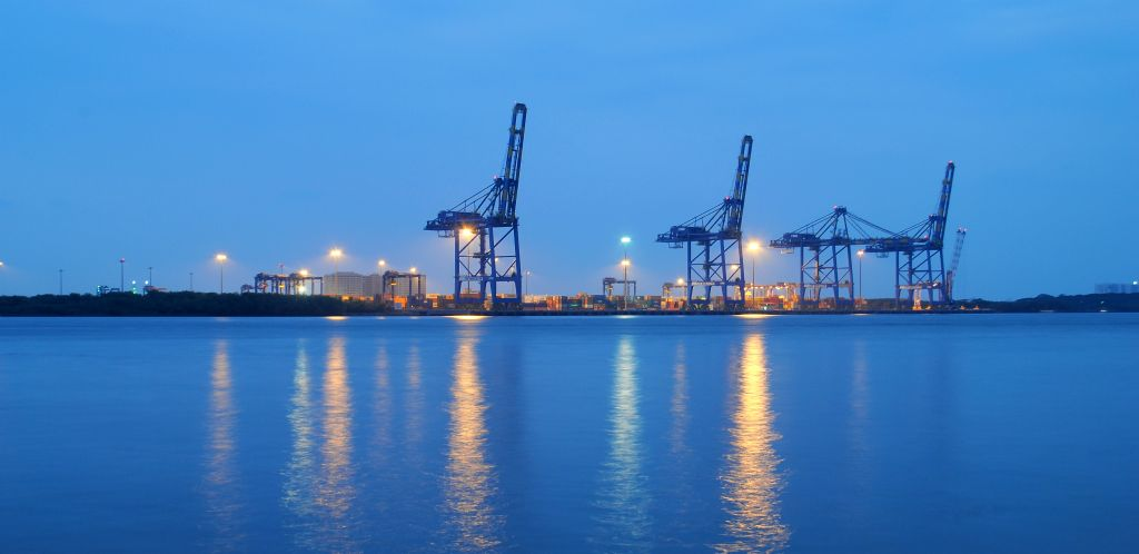 Cranes at the Vallapardam port. Credit: Wikimedia Commons