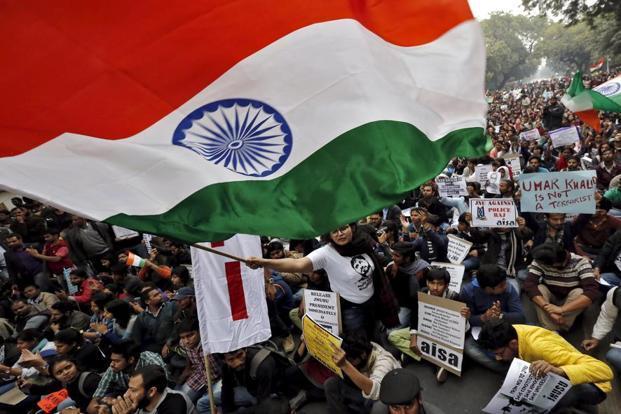 JNU students protesting in Delhi. Credit: Reuters