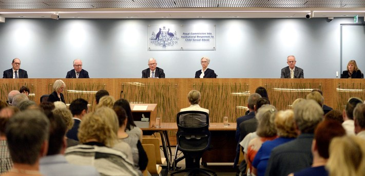 Commissioner Andrew Murray, commissioner Robert Fitzgerald, Justice Peter McClellan, Justice Jennifer Coates, commissioner Bob Atkinson and commissioner Helen Milroy at the final sitting of the royal commission into institutional responses to child sexual abuse in Sydney, Australia, December 14, 2017. Credit: Reuters