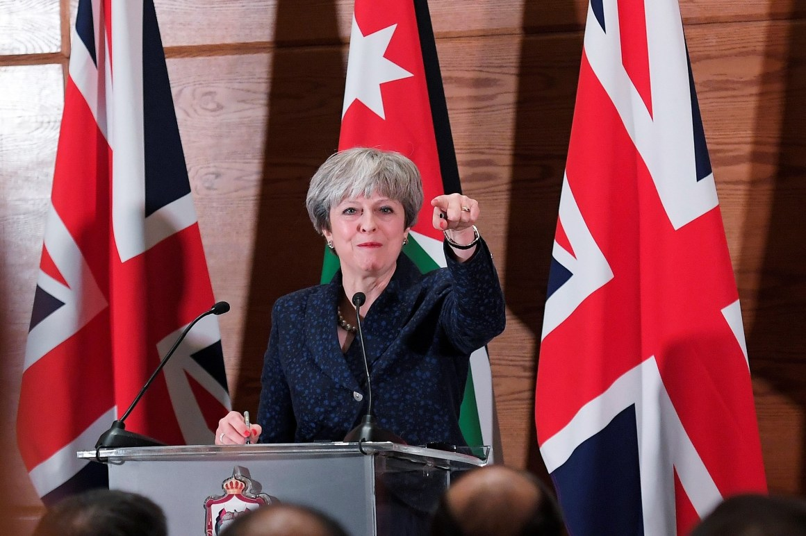 Britain's Prime Minister Theresa May attends a press conference, in Amman, Jordan, November 30, 2017 Credit: Reuters/Toby Melville