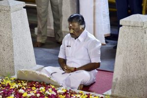 O Panneerselvam sitting in a meditation