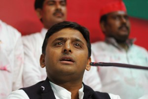 Akhilesh Yadav, state party president and son of the Samajwadi Party President Mulayam Singh Yadav, speaks during a news conference at their party headquarters in the northern Indian city of Lucknow March 6, 2012. India's Congress party trailed in fourth place as vote counting neared its end in Uttar Pradesh on Tuesday, a bitter election blow to Rahul Gandhi who had staked his political future on reviving his party's fortunes in the populous northern state. The runaway winner was the socialist Samajwadi Party, which means former wrestler Mulayam Singh Yadav will become chief minister for a fourth term since 1989, ousting the flamboyant lower-caste leader Mayawati. REUTERS/Stringer (INDIA - Tags: POLITICS ELECTIONS) - RTR2YX69