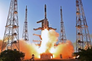 "Sriharikota: Indian Space Research Organisation (ISRO)'s communication satellite GSAT-9 on-board GSLV-F09 lifts off from Satish Dhawan Space Center in Sriharikota on Friday. Prime Minister Narendra Modi has termed the satellite as India's ""space gift for South Asia"". PTI Photo (PTI5_5_2017_000187A)"