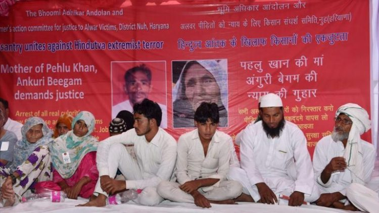 Pehlu Khan's mother Ankuri Beegam and other family members at a dharna in New Delhi demanding justice for him. PTI File