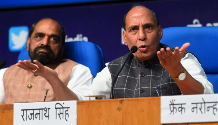 New Delhi: Union Home Minister Rajnath Singh addresses a press conference to announce the three years achievements of NDA, in New Delhi on Saturday. PTI Photo by Shahbaz Khan(PTI6_3_2017_000054A)