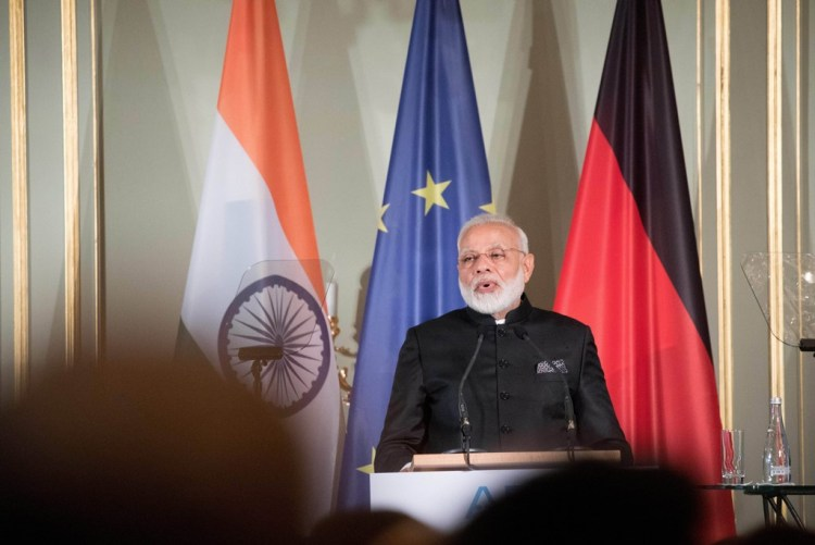 Berlin : Indian Prime Minister Narendra Modi speaks at the Indo-German Business Summit 2017 of the Association of the German Industry after the German-Indian Inter-Governmental Cosultations in Berlin, Germany, 30 May 2017. Photo: Kay Nietfeld/dpa/ PTI(DPA-PTI5_30_2017_000010B)