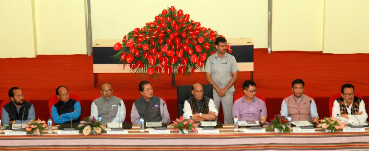 The Union Home Minister, Shri Rajnath Singh chairing a review meeting on Indo-Myanmar border issues, in Aizawl, Mizoram on June 12, 2017. The Chief Minister of Mizoram, Shri Pu Lalthanhawla, the Chief Minister of Manipur, Shri N. Biren Singh, the Chief Minister of Arunachal Pradesh, Shri Pema Khandu and the Minister of State for Home Affairs, Shri Kiren Rijiju are also seen.