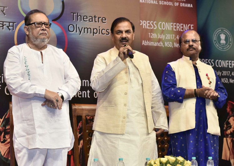 "The Minister of State for Culture and Tourism (Independent Charge), Dr. Mahesh Sharma addressing the media to announce the ""8th Theatre Olympics 2018 in India"", in New Delhi on July 12, 2017."