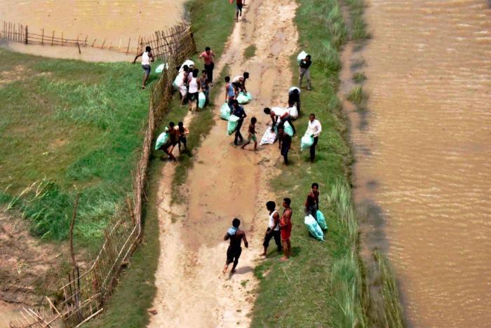 Motihari: An aerial view of a flood-hit region of Motihari district in Bihar on Friday. PTI Photo (PTI8 18 2017 000046B)