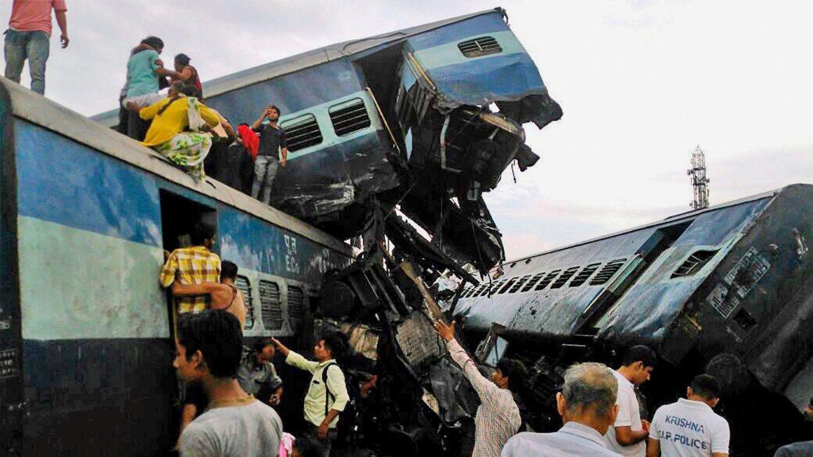 RPT (with added details) - Muzaffarnagar: Coaches of the Puri-Haridwar Utkal Express train after it derailed in Khatauli near Muzaffarnagar on Saturday. PTI Photo(PTI8_19_2017_000106B)