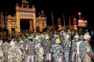 Varanasi: Heavy police personnel deployed at Banaras Hindu University where students were holding a protest in Varanasi, late Saturday night. Female students at the prestigious University were protesting against the administration's alleged victim-shaming after one of them reported an incident of molestation on Thursday. PTI Photo (PTI9_24_2017_000078B)