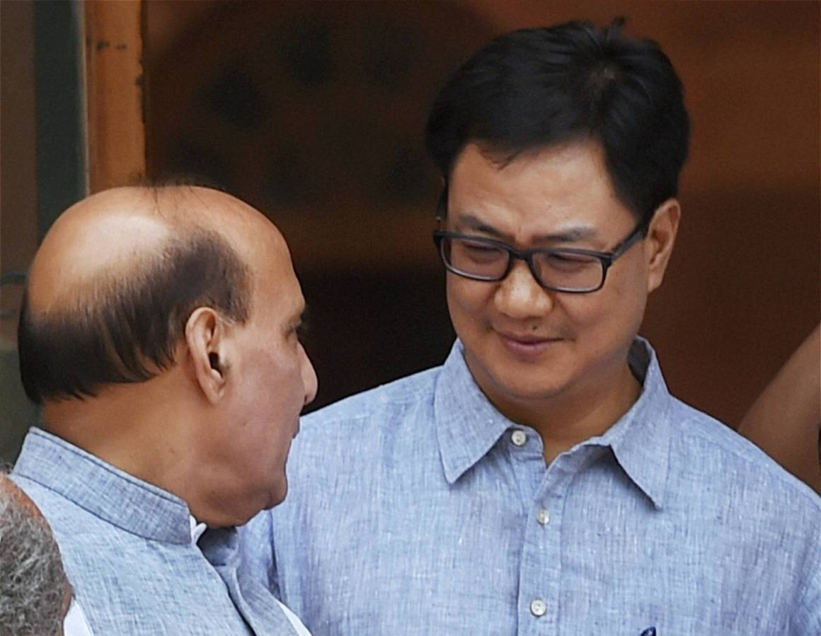 New Delhi : Home Minister Rajnath Singh with MoS Home Kiren Rijiju after a Cabinet meeting at South Block in New Delhi on Wednesday. PTI Photo by Subhav Shukla (PTI6_1_2016_000062A)