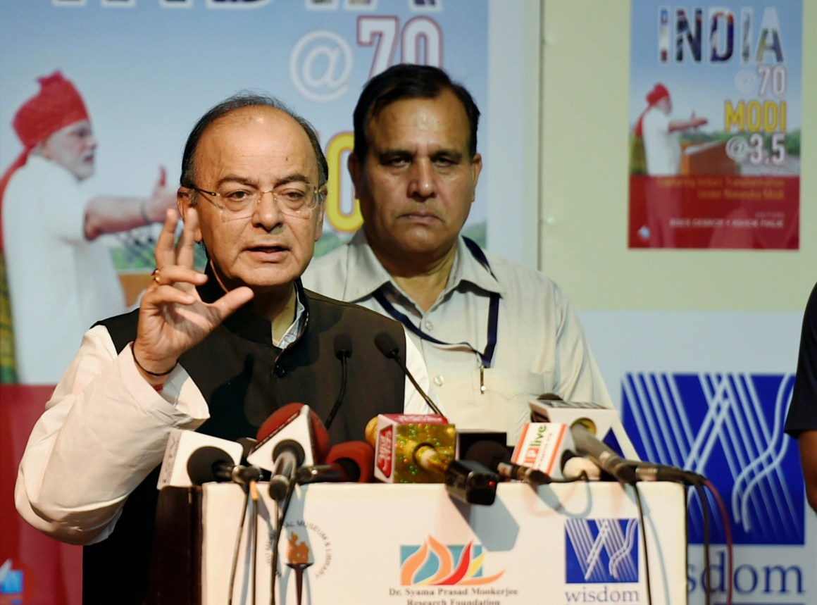 "New Delhi: Finance Minister Arun Jaitley addresses at the release of the book ""India @ 70 Modi @ 3.5"" in New Delhi on Thursday. PTI Photo by Kamal Singh (PTI9_28_2017_000196B)"