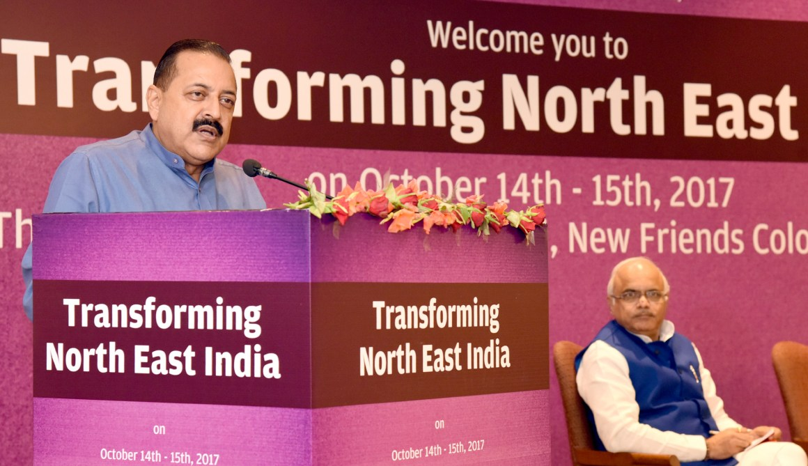 "The Minister of State for Development of North Eastern Region (I/C), Prime Minister's Office, Personnel, Public Grievances & Pensions, Atomic Energy and Space, Dr. Jitendra Singh addressing the two-day National Convention on ""Transforming Northeast India"", in New Delhi on October 15, 2017."