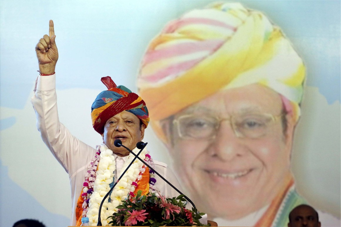Gandhinagar: Former Gujarat chief minister and Congress veteran Shankersinh Vaghela address a public meeting on his 77th birthday in Gandhinagar on Friday. Vaghela on Friday said he was resigning from all posts in the party. PTI Photo (PTI7_21_2017_00224A)