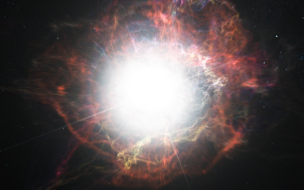 Artist's impression of dust formation around a supernova explosion
