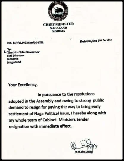 FAke resignation of TR Zeliang