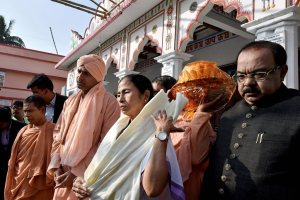 Sagar Island: West Bengal Chief Minister Mamata Banerjee comes out of Bharat Sevashram Sangha Temple after her visit, at Sagar Island on Wednesday. PTI Photo by Swapan Mahapatra   (PTI12_27_2017_000145B)