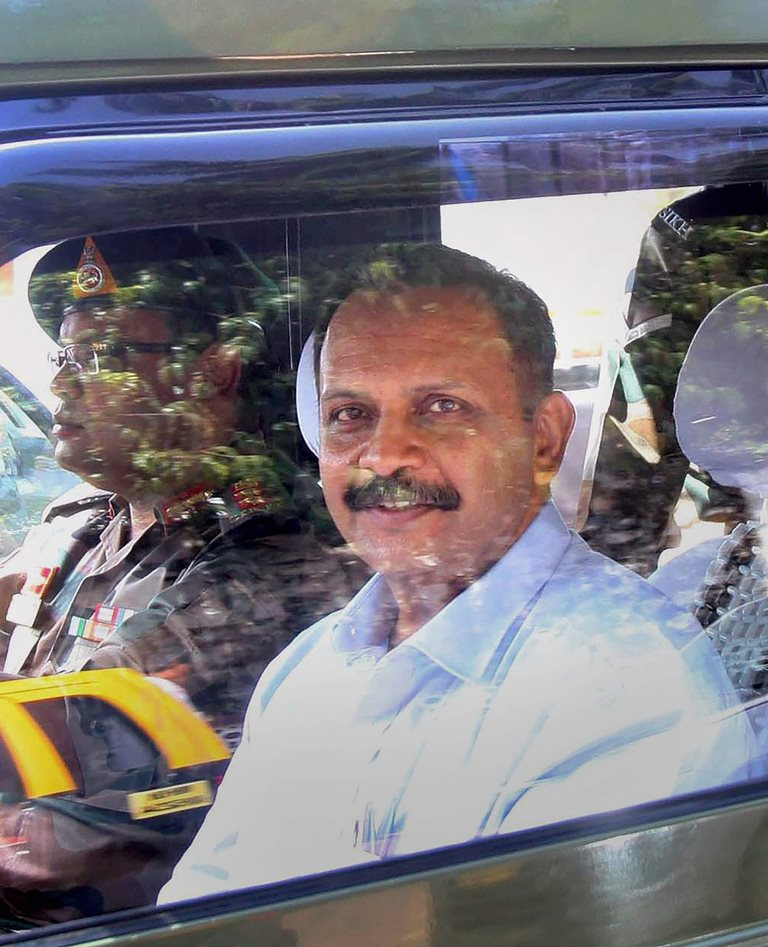 RPT with Correction....Mumbai: File picture of Lt Col Shrikant Prasad Purohit whe he was released on bail in the 2008 Malegaon bomb blast case in Mumbai on Aug 24, 2017. Though an NIA court on Wednesday dropped charges under the Maharashtra Control of Organised Crime Act, 1999, against Col Purohit, he will have to face trial for conspiracy and terror charges. PTI Photo (PTI12_28_2017_000061B)