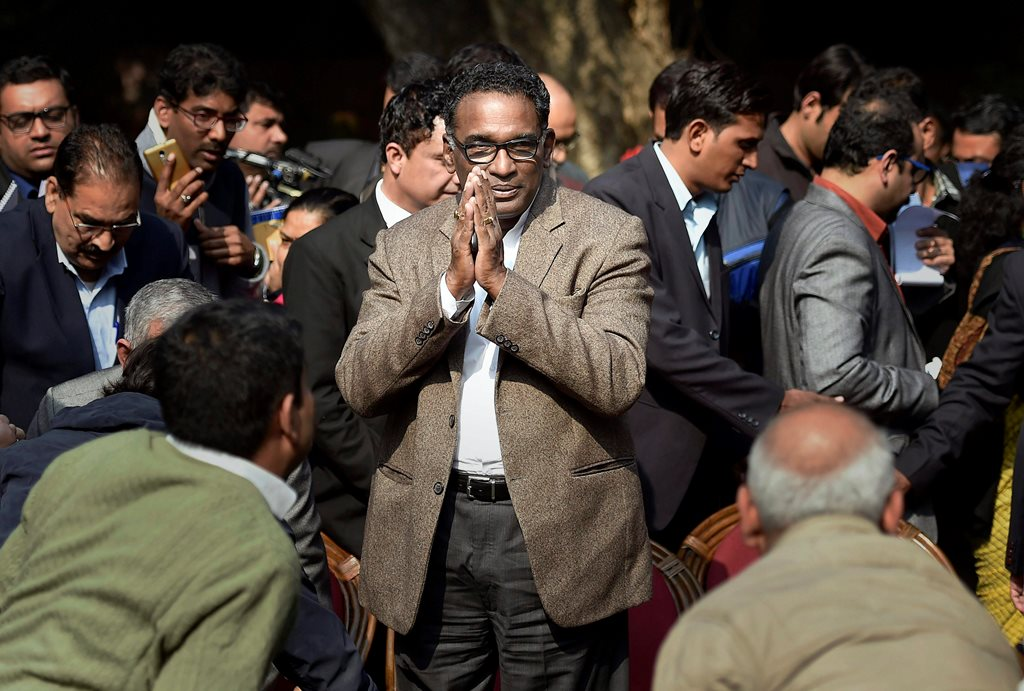 New Delhi: Supreme Court judge Jasti Chelameswar during a press conference at his residence in New Delhi on Friday. PTI Photo by Ravi Choudhary (PTI1_12_2018_000029B)