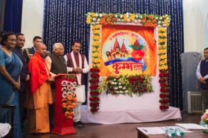 Uttar Pradesh Chief Minister Yogi Adityanath unveiled the logo for Kumbh Mela, 2019 & the tagline for #UPTourism- 'Agar UP nahi dekha to India nahi dekha' at the Raj Bhawan in Lucknow 13th December 2017. UP Tourism