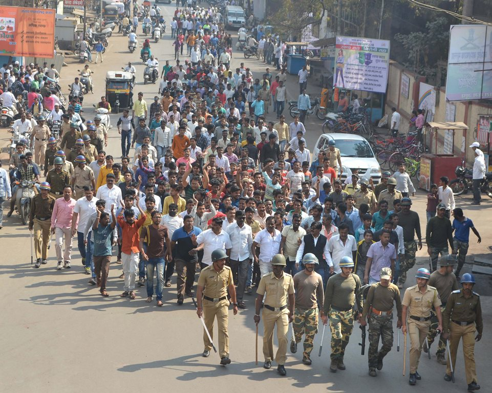 Karad: Dalits take part in a protest rally during their Maharashtra Bandh called over the Bhima Koregaon violence, in Karad, Maharashtra on Wednesday. PTI Photo (PTI1_3_2018_000065B)