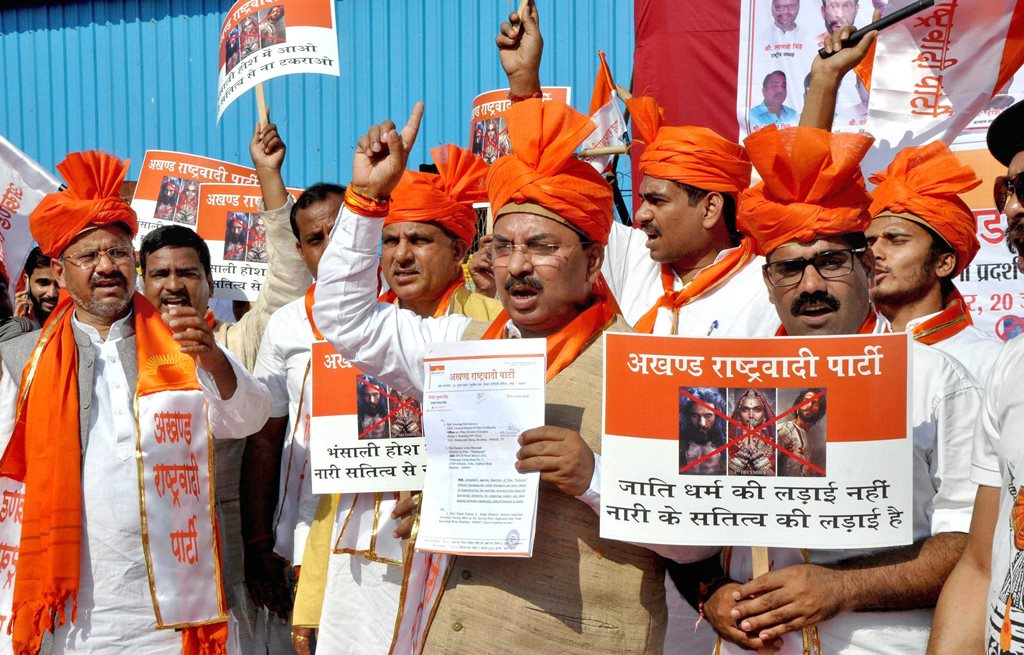 Mumbai: Akhand Rashtrawadi Party activists stage a protest against film Padmaavat at Azad Maidan in Mumbai on Saturday. PTI Photo (PTI1_20_2018_000177B)
