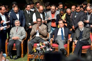 (L-R) Justices Kurian Joseph, Jasti Chelameswar, Ranjan Gogoi and Madan Lokur address the media at a news conference in New Delhi, India January 12, 2018. PTI