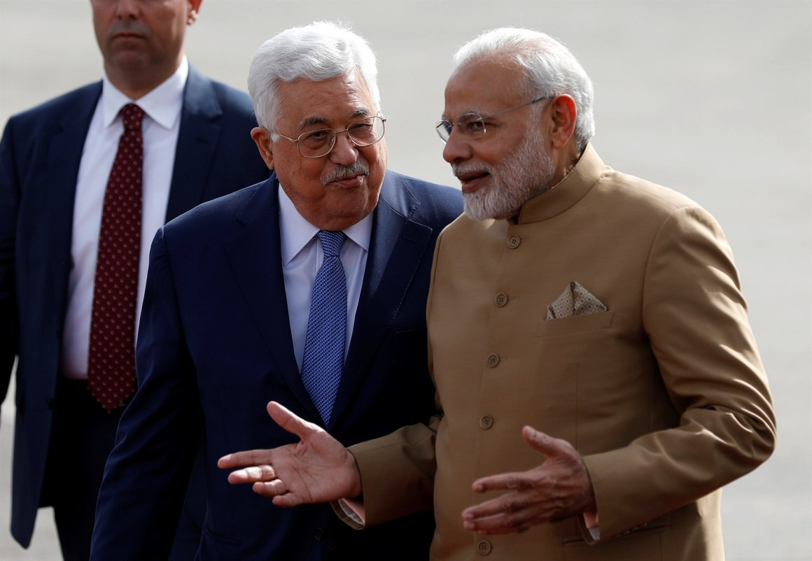 Mahmoud Abbas of Palestine PM Modi