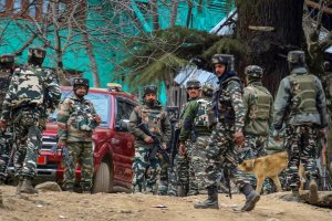 Kupwara: Army personnel cordon off the spot where militants were hiding during an encounter in which four militants and four security personnel including two policemen and two army jawans were killed, at Halmatpora in Kupwara district of North Kashmir on Wednesday. PTI Photo (PTI3_21_2018_000161B)