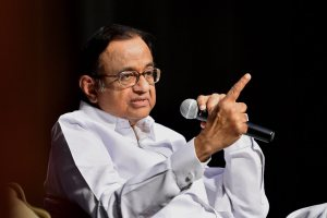 Bengaluru: Former Finance Minister P Chidambaram speaks during his book launch 'Speaking Truth to Power' in Bengaluru on Sunday. PTI Photo / Free(PTI3_11_2018_000109B)