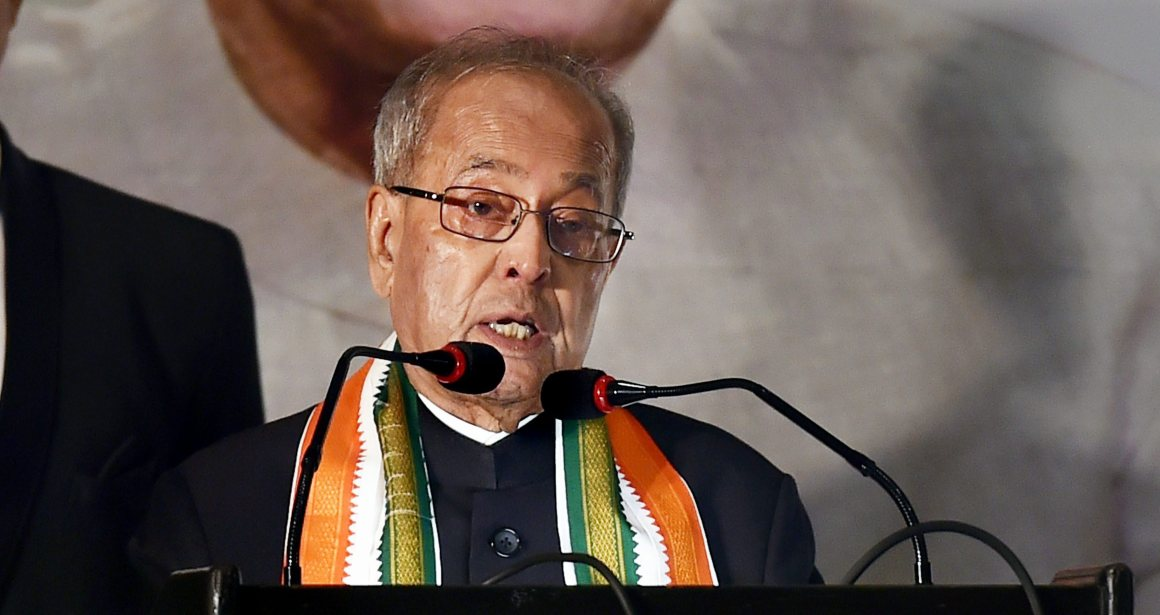 Kolkata: Former President Pranab Mukherjee addresses a special session on 'Prospects for Economic Growth and the Policy Imperatives for India' in Kolkata on Wednesday evening. PTI Photo by Swapan Mahapatra (PTI2_28_2018_000219B)