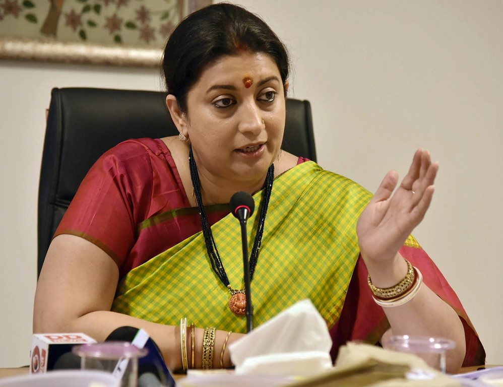 New Delhi: Union Minister for Textiles and Information & Broadcasting Smriti Irani interacting with the media regarding cabinet approval for Integrated Scheme for Development of Silk Industry, in New Delhi on Thursday. PTI Photo/PIB (PTI3_22_2018_000083B)