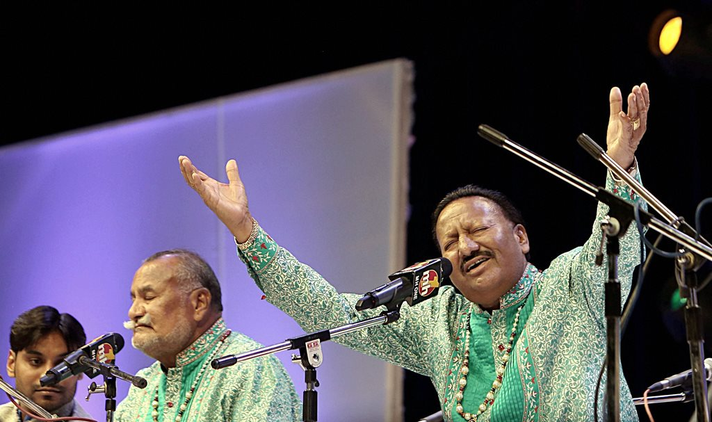 New Delhi: **FILE** In this file photo The Wadali Brothers Pyarelal Wadali and Puranchand Wadali perform at Siri Fort Auditorium in New Delhi.Ustad Pyarelal Wadali, younger brother of Ustad Puran Chand Wadali died in Amritsar on Friday morning. He was 75. PTI Photo (PTI3_9_2018_000049B)