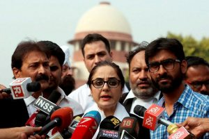 New Delhi: Kathua rape case victim's lawyer Deepika Singh Rajawat addressing to media at Supreme court after the petition for shifting the case from J-K to Supreme court, in New Delhi on Monday.PTI Photo(PTI4_16_2018_000200B)