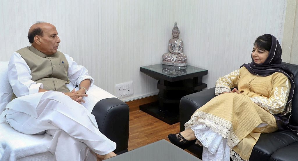 New Delhi: Chief Minister of Jammu and Kashmir Mehbooba Mufti calls on the Union Home Minister Rajnath Singh, in New Delhi on Wednesday. PTI Photo / PIB(PTI4_11_2018_000062B)