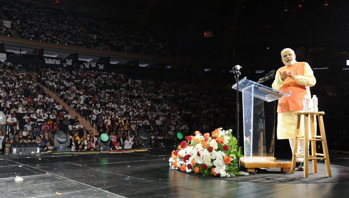 The Prime Minister, Shri Narendra Modi addressing the Indian Community, at Madison Square Garden, in New York on September 28, 2014.