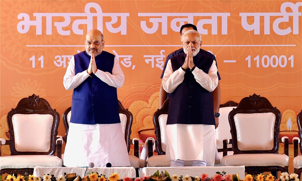 Narendra Modi and Amit Shah during BJP's Diwali Milan on 28 Oct 2017. PTI10_28_2017_000027B