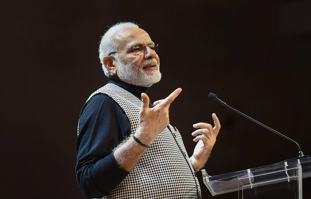 Stockholm: Prime Minister Narendra Modi addresses the Indian Community in Stockholm, Sweden on Tuesday. PTI Photo / PIB(PTI4_18_2018_000045B)