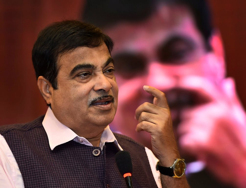 New Delhi: Union Minister for Road Transport, Highways and Shipping Nitin Gadkari speaks during the workshop on industries issues on Road Safety in New Delhi on Thursday. PTI Photo by Kamal Singh(PTI4_26_2018_000052B)