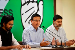 New Delhi: AICC spokesperson Randeep Singh Surjewala addresses a press conference in New Delhi on Thursday. PTI Photo by Ravi Choudhary (PTI4_19_2018_000111B)